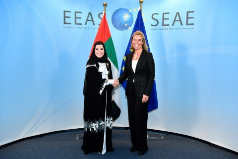 Dr Amal Al Qubaisi, Speaker of the UAE Parliament, with Federica Mogherini, EU High Representative f ...