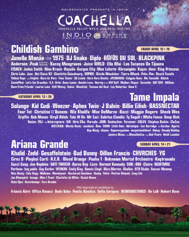 Coachella Valley Music and Arts Festival 2019 lineup (Graphic: Business Wire)