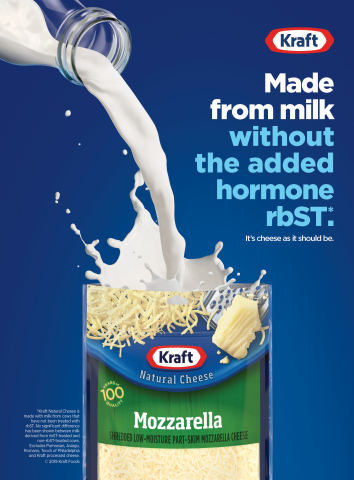 KRAFT believes consumers deserve cheese as it should be, and that's why KRAFT Natural Cheese is now made with milk from cows raised without the artificial growth hormone rbST. (Graphic: Business Wire)