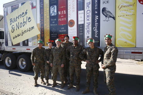 A group of Marines unload a truck full of books, toys, games, puzzles, and collectibles donated by Barnes & Noble to Toys for Tots in New York City. (Photo Credit: Jeff Zelevansky for Barnes & Noble)