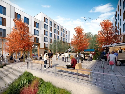 A CGI of the scheme's Middle Square Market (Photo: Business Wire)