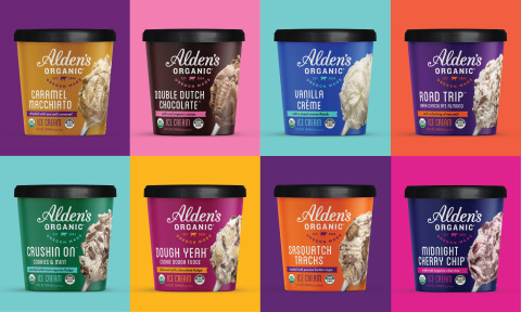 The new Alden's pints feature the brand's new look, reflecting the vibrancy of the Pacific Northwest with bold colors and lick-the-carton photography (Photo: Business Wire)