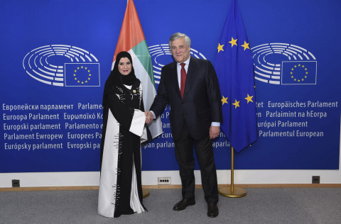 His Excellency Antonio Tajani, President of the European Parliament, and Her Excellency Dr Amal Al Q ...