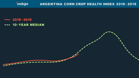Argentina Corn Crop Health Index 2018 - 2019 (Graphic: Business Wire)