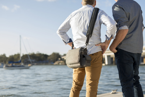 Standing on the pier with ResMed Mobi portable oxygen concentrator (Photo: Business Wire)