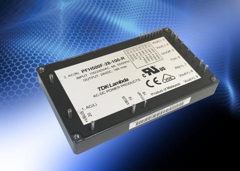 TDK-Lambda's PFH500F-28 AC-DC power supply module uses Transphorm's GaN modules for a 30% power dens ...