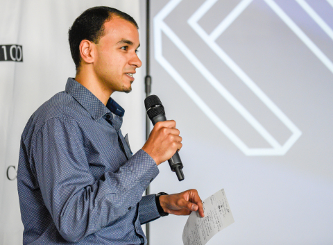 CEO Bolis Ibrahim of Argentum Electronics pitches at Venture13 as part of N100 Evolution. (Photo: Business Wire)
