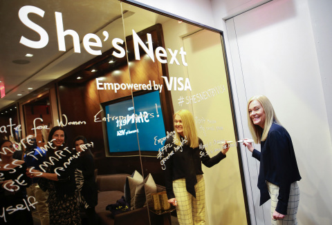 Mary Ann Reilly, Visa executive, inscribes Visa's dedication to women in small business at the unveil of She's Next, Empowered by Visa, at an event at Hudson Yards in New York City. (Photo: Business Wire)