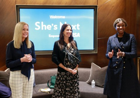 Visa unveils a global initiative to champion women-owned small businesses everywhere: She's Next, Empowered by Visa. Visa executives Mary Ann Reilly (left) and Suzan Kereere (right) are joined by Rebecca Minkoff, founder of Rebecca Minkoff (center) and the Female Founder Collective at an event at Hudson Yards in New York City. (Photo: Business Wire)