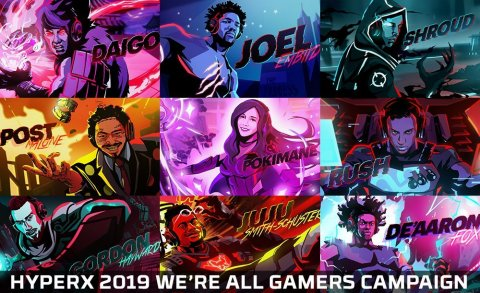 HyperX Announces 2019 We're All Gamers Ad Campaign Including Celebrity Influencers Post Malone, Gordon Hayward, Joel Embiid, JuJu Smith-Schuster, Pokimane, Shroud, Daigo, De'Aaron Fox and Rush. (Graphic: Business Wire)