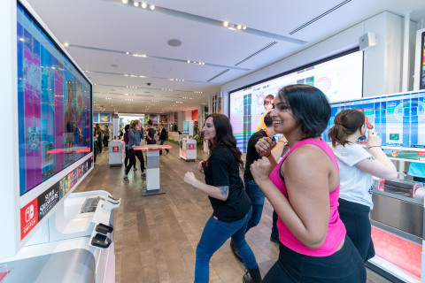 In this photo provided by Nintendo of America, [Jenna Cozzolino] and [Felia M. of Nintendo Power Couple] kick off their 2019 fitness goals during a special event at the Nintendo NY store in New York on Jan. 15, 2019, by joining a fun Fitness Boxing workout customized by Instagram fitness influencer Niki Klasnic. Fitness Boxing is a new rhythm-based boxing game for the Nintendo Switch system that offers a variety of training options to help people achieve their fitness goals. (Photo: Business Wire)