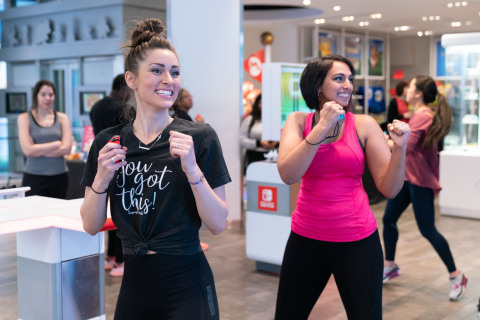 In this photo provided by Nintendo of America, [Felia M. of Nintendo Power Couple] gather at the Nintendo NY store in New York for a Fitness Boxing workout session led by Instagram fitness influencer Niki Klasnic on Jan. 15, 2019. Fitness Boxing is a rhythm-based boxing game for the Nintendo Switch system that offers a variety of training options to help people achieve their fitness goals. (Photo: Business Wire)