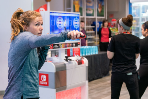 In this photo provided by Nintendo of America, [Natalie M. of Refinery29] gather at the Nintendo NY store in New York for a Fitness Boxing workout session led by Instagram fitness influencer Niki Klasnic on Jan. 15, 2019. Fitness Boxing is a rhythm-based boxing game for the Nintendo Switch system that offers a variety of training options to help people achieve their fitness goals. (Photo: Business Wire)