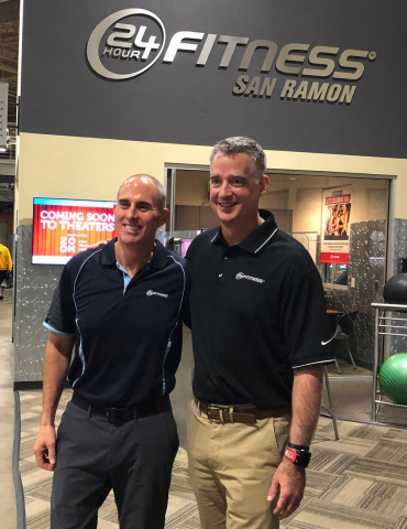 (L to R) Former CEO Chris Roussos and Tony Ueber, newly named CEO, 24 Hour Fitness (Photo: Business  ...