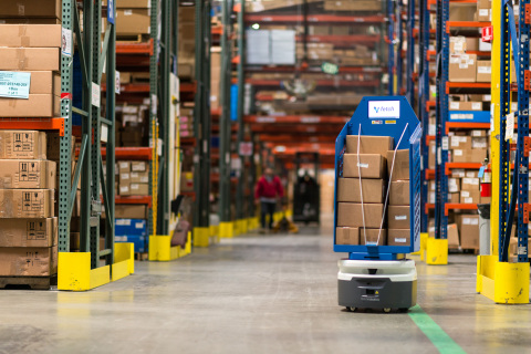 Ryder has partnered with Fetch Robotics to employ autonomous mobile robots like the HMIShelf, which works alongside people to make point-to-point manual material handling easier and safer. (Photo: Business Wire)