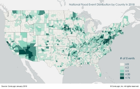 CoreLogic National Flood Event Distribution by County in 2018 (Graphic: Business Wire)