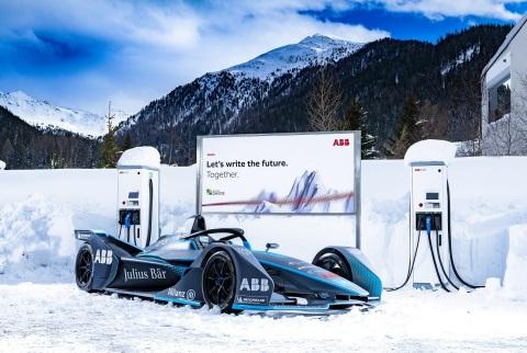 ABB FIA Formula E racing car in Davos (Photo: Business Wire)