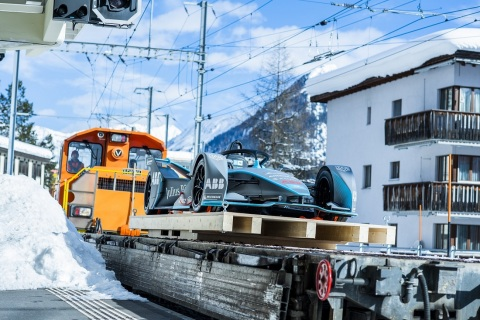 ABB FIA Formula E racing car on its way to Davos (Photo: Business Wire)