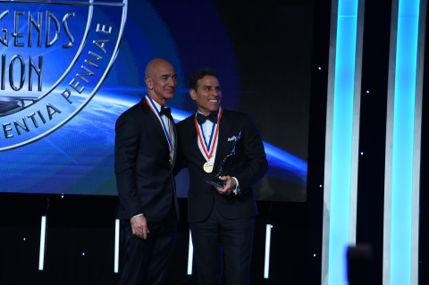 Kenn Ricci, Principal of Directional Aviation, presented the Kenn Ricci Lifetime Aviation Entrepreneur Award to founder and CEO of Amazon and founder of space exploration innovator Blue Origin at the Living Legends of Aviation ceremony Friday, January 18, 2019 at the Beverly Hilton in Beverly Hills, CA. (Photo: Business Wire)