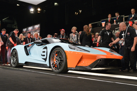 2019 Ford GT Heritage Edition VIN 001 sold for charity at Barrett-Jackson (Photo: Business Wire)