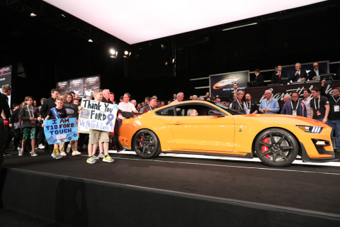 2020 Ford Mustang Shelby GT500 VIN 001 sold for charity at Barrett-Jackson (Photo: Business Wire)