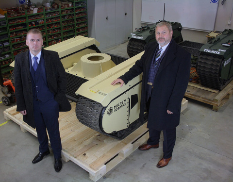 The CEO and owner of Milrem Robotics Kuldar Vaarsi (left) and the new Director of the Defence Divisi ...