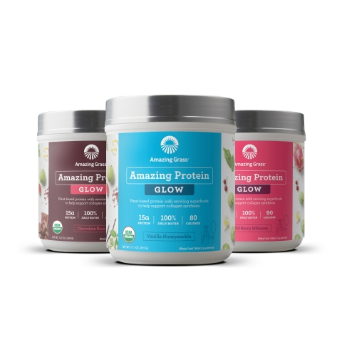 Amazing Protein Glow is crafted with organic plant-based protein and reviving superfoods to help support collagen synthesis and healthy, nourished skin for full body radiance. (Photo: Business Wire)