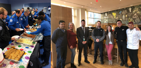 (Left) Food from Vapiano feeds over 100 TSA workers. (Right) Team Vapiano Reston. (Photo: Business Wire)