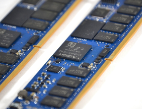 Pictured is AgigA Tech's AGIGARAM4 memory controller ASIC that targets JEDEC-standard NVDIMM-N produ ...