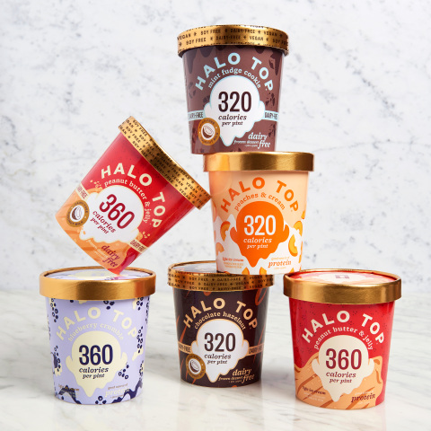 Halo Top welcomes the return of seasonal flavors Peanut Butter & Jelly, Blueberry Crumble and Peaches & Cream, along with new non-dairy flavors Mint Fudge Cookie, Chocolate Hazelnut and Peanut Butter & Jelly (Photo: Business Wire)