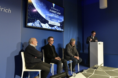WEF panel for STARMUS, Michel Mayor, Jean-Michel Jarre, Garik Israelian, and moderator Marco Larsen engage with the Davos audience. Photo by: Andres Eggenberger