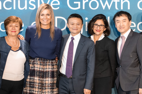 From left to right: Kristalina Georgieva, Chief Executive Officer of the World Bank; H.M. Queen Máxima of the Netherlands; Jack Ma, Executive Chairman of Alibaba; Dame Minouche Shafik, Director, London School of Economics; Chen Long, Director, Luohan Academy (Photo: Business Wire)