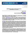 Republic Bancorp, Inc. Reports a 22% Year-Over-Year Increase in Fourth Quarter Pre-Tax Net Income