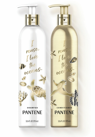 Pantene is introducing a unique bottle made with lightweight, durable aluminum for its shampoo and conditioner. (Photo: Business Wire)