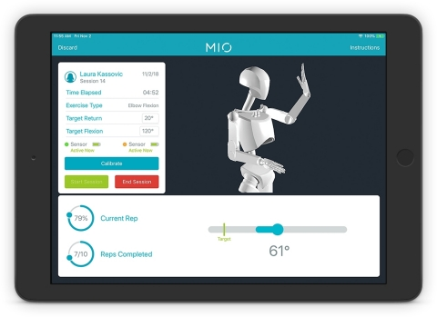 MIO is a complete, wearable sensor solution that automatically measures, analyzes, and stores a patient's physical therapy data. (Graphic: Business Wire)