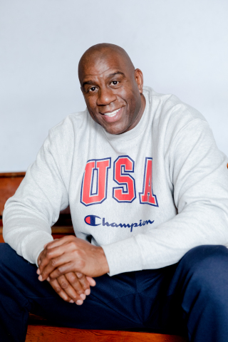 "Magic Johnson for Champion's ""100 Years for the Team"" Anniversary Campaign (Photo: Business Wire)"