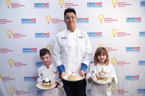 On Jan. 30, IHOP unveiled its new Kid Chef Team as part of its IHOP Free Pancake Day – Flip it Forward for Kids charitable event taking place on March 12, 2019; (from left) finalists Brody Simoncini, 6, Coleman Giles, 15, and Nellie Mainor, 8, each treated at a Children's Miracle Network Hospital, were invited to showcase their winning pancake idea at the IHOP Test Kitchen. (Photo: Business Wire)