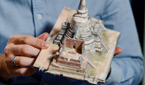 A 3D printed model of Ayutthaya temple in Thailand, produced using the Stratasys J750 (Graphic: Business Wire)