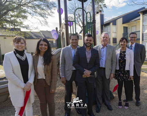 Swapnil Agarwal and Executive Members of Karya Property Management pose with Northwest Assistance Ministries staff at the dedication of the new playscape. (Photo: Business Wire)