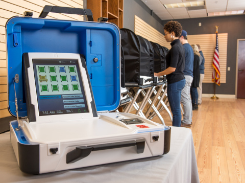 Brazos County is rolling out its new Verity Voting system from Hart InterCivic. The easy-to-navigate touchscreen interface is popular with voters, and the compact briefcase-sized voting machines with centralized management are easy for election workers to carry and set up. (Photo: Business Wire)