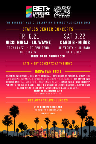 BET NETWORKS ANNOUNCES FIRST WAVE OF ITS STAR-STUDDED STAPLES CENTER CONCERT LINE-UP FOR ITS CULTURE-DEFINING SEVENTH ANNUAL BET EXPERIENCE AT L.A. LIVE PRESENTED BY COCA-COLA® June 20-June 23 (Photo: Business Wire)