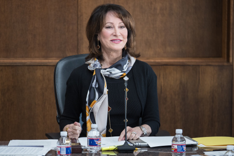 Port Houston Commission Chairman Janiece Longoria presiding over her last regular Port Commission meeting  Jan. 29 due to term limits. In her closing remarks, she symbolically passed the gavel and the organization in excellent standing to the newly appointed Port Commission Chairman Ric Campo whose two-year term starts Feb. 1.  Chairman Longoria received a standing ovation in gratitude for her leadership and lasting legacy. (Photo: Business Wire)