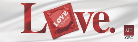 Billboards and transit ads for AHF's LOVE brand condoms posted nationwide in Atlanta, Chicago, Los Angeles, Miami, New York and several other markets in anticipation of International Condom Day, observed on February 13th. (Graphic: Business Wire)