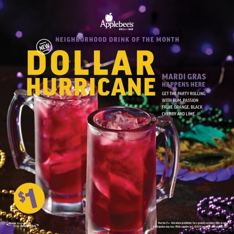 Celebrate Mardi Gras Across America at Applebee's® with the DOLLAR HURRICANE (Graphic: Business Wire ...