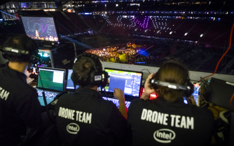 """One hundred fifty enhanced Intel Shooting Star drones fly during rehearsals for the Pepsi Super Bowl LIII Halftime Show. During Super Bowl LIII in Atlanta on Feb. 3, 2019, Intel Corporation partnered with the NFL to create the first-ever live drone light show during a Super Bowl Halftime Show. As Maroon 5 began the song """"She Will Be Loved,"""" 150 enhanced Intel Shooting Star drones floated up and over the field in a choreographed performance to the music to form the words """"ONE"""" and """"LOVE."""" (Credit: Intel Corporation)"""