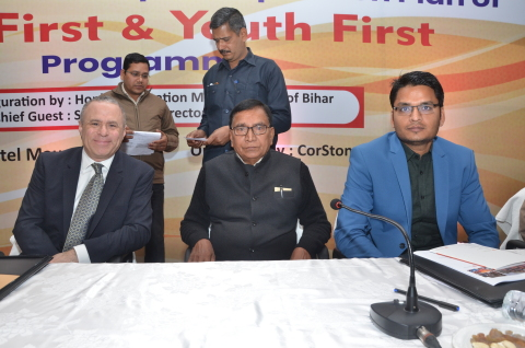 Steve Leventhal, Executive Director, CorStone, sits with Shri Krishna Nandan Prasad Verma, State Education Minister, Government of Bihar & Shri Aravind Kumar Verm, IAS, State Project Director, Bihar Education Project Council, at the Girls First-Youth First expansion announcement in Bihar, India. (Photo: Business Wire)