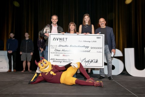 Awarding Strella Biotech $100k for winning the ASU Innovation Open held at ASU on Feb 1. From left to right: Cody Friesen, CEO Zero Mass Water; MaryAnn Miller, SVP HR & Marketing Avnet; Katherine Sizov, Founder & CEO Strella Biotechnology; Bill Amelio, CEO Avnet; and Sparky, ASU mascot. (Photo: Business Wire)