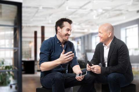 Raphael Oberholzer, NEEO Founder (left) and Charlie Kindel, Control4 Senior Vice President, Products & Services (right)(Photo: Business Wire)