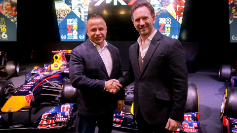 FuturoCoin unveiled as partner of Aston Martin Red Bull Racing - L to R - Roman Ziemian Co-Founder of Futurocoin and Chrstian Horner Red Bull Racing Team Principal (Photo: Business Wire)