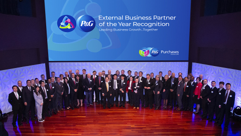 P&G CEO David Taylor, Global Product Supply Officer Yannis Skoufalos and P&G leadership celebrate with representatives from the 10 companies that were presented with Partner of the Year Awards. These 10 companies were chosen out of more than 50,000 global suppliers for P&G. (Photo: Business Wire)